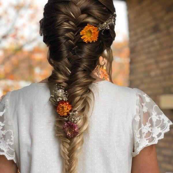 Bridal bohemian fishtailbraid
