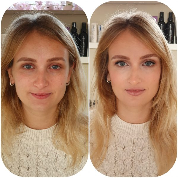Bruids Make-up before and after